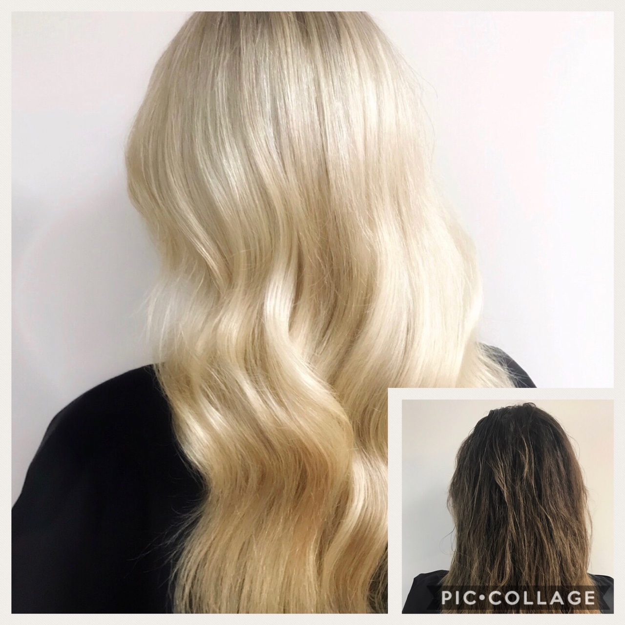 Before and After image of long blonde hair extensions to replace short tired brown hair-hair salon solana beach -Salon LG-+1 858 344 7865.
