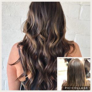 Before and After image of long brown hair extensions to replace short tired straight brown hair-hair salon solana beach -Salon LG-+1 858 344 7865.