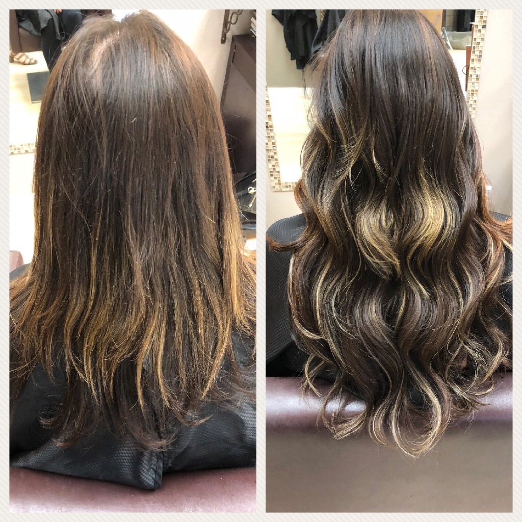 Before and After image of long brown with blonde highlites hair extensions-hair salon solana beach -Salon LG-+1 858 344 7865.