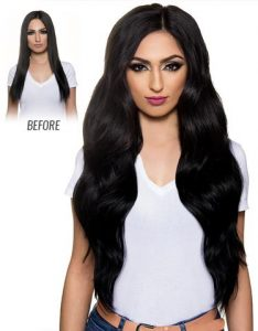 Before and After image of long full thick blackcolored straight hair extensions-hair salon solana beach -Salon LG-+1 858 344 7865.