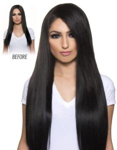Before and After image of long full thick dark colored straight hair extensions-hair salon solana beach -Salon LG-+1 858 344 7865.
