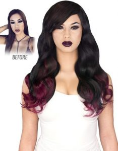 Before and After image of long full thick dark two tone colored wavy hair extensions-hair salon solana beach -Salon LG-+1 858 344 7865.