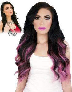 Before and After image of long full thick dark two tone pink colored wavy hair extensions-hair salon solana beach -Salon LG-+1 858 344 7865.