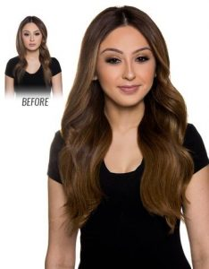Before and After image of long full thick natural colored wavy hair extensions-hair salon solana beach -Salon LG-+1 858 344 7865.