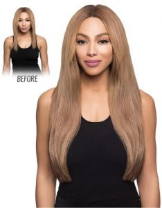 Before and After image of long full thick sandy brown colored straight hair extensions-hair salon solana beach -Salon LG-+1 858 344 7865.