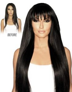 Before and After image of long full thick straight black colored straight hair extensions-hair salon solana beach -Salon LG-+1 858 344 7865.
