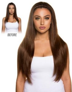 Before and After image of long full thick straight sandy brown colored straight hair extensions-hair salon solana beach -Salon LG-+1 858 344 7865.