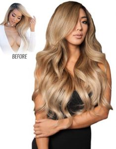 Before and After image of long full thick two tone blonde colored straight hair extensions-hair salon solana beach -Salon LG-+1 858 344 7865.