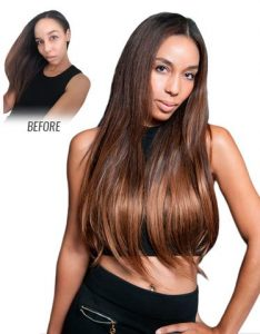 Before and After image of long full thick two tone brown colored straight hair extensions-hair salon solana beach -Salon LG-+1 858 344 7865.