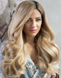 Before and After image of long full thick wavey sandy blonde colored straight hair extensions-hair salon solana beach -Salon LG-+1 858 344 7865.