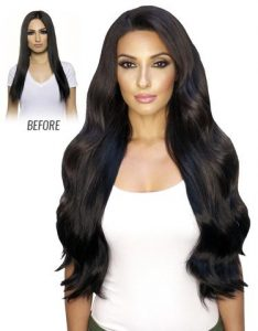 Before and After image of long full thick wavy black colored straight hair extensions-hair salon solana beach -Salon LG-+1 858 344 7865.