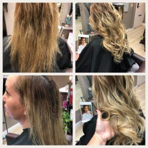 before and after images of blonde wavy shoulder length hair extensions-hair salon solana beach -Salon LG-+1 858 344 7865.