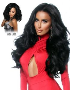 before and after images of long dark wavy hair extensions-hair salon solana beach -Salon LG-+1 858 344 7865.