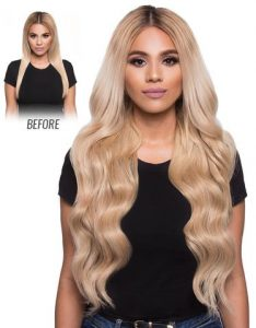 before and after images of long full blonde wavy hair extensions-hair salon solana beach -Salon LG-+1 858 344 7865.
