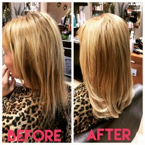 before and after images of sandy blonde shoulder length hair extensions-hair salon solana beach -Salon LG-+1 858 344 7865.