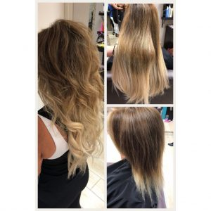 before and after images of shoulder length hair extensions-hair salon solana beach -Salon LG-+1 858 344 7865.