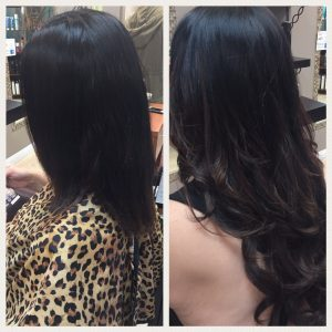 Before and After image of black wavy hair extensions to replace tired black hair-hair salon solana beach -Salon LG-+1 858 344 7865.