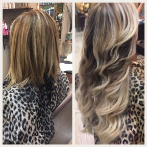 Before and After image of blended brown and blonde wavy hair extensions to replace tired sandy blonde hair-hair salon solana beach -Salon LG-+1 858 344 7865.