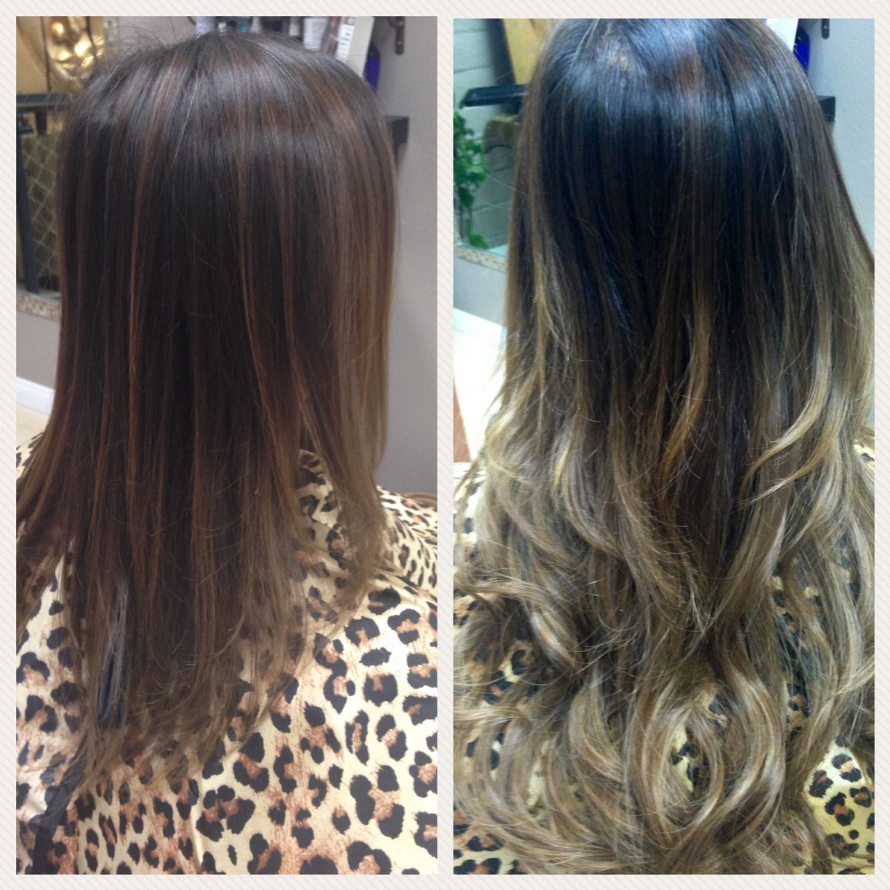 Before and After image of blended sandy blonde hair extensions to replace tired brown hair-hair salon solana beach -Salon LG-+1 858 344 7865.