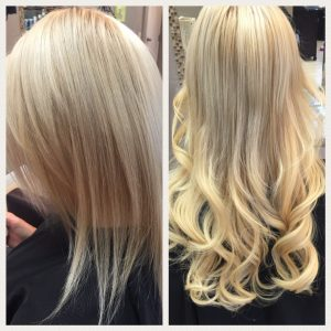 Before and After image of blonde wavy hair extensions to replace tired blonde hair-hair salon solana beach -Salon LG-+1 858 344 7865.