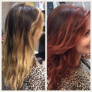 Before and After image of deep auburn wavy hair extensions to replace tired shoulder length blended blonde hair-hair salon solana beach -Salon LG-+1 858 344 7865.