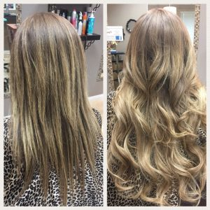 Before and After image of deep blended blonde wavy hair extensions to replace tired sandy blonde hair-hair salon solana beach -Salon LG-+1 858 344 7865.