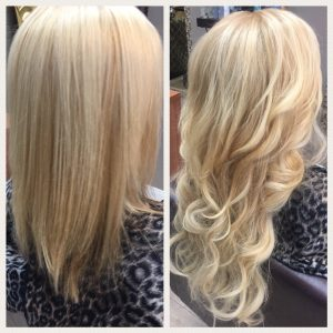 Before and After image of deep blended blonde wavy hair extensions to replace tired shoulder length blonde hair-hair salon solana beach -Salon LG-+1 858 344 7865.