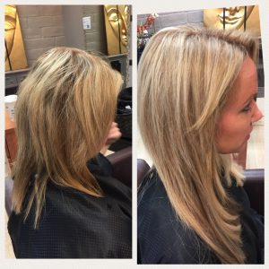 Before and After image of deep blonde straight hair extensions to replace tired shoulder length sandy blonde hair-hair salon solana beach -Salon LG-+1 858 344 7865.