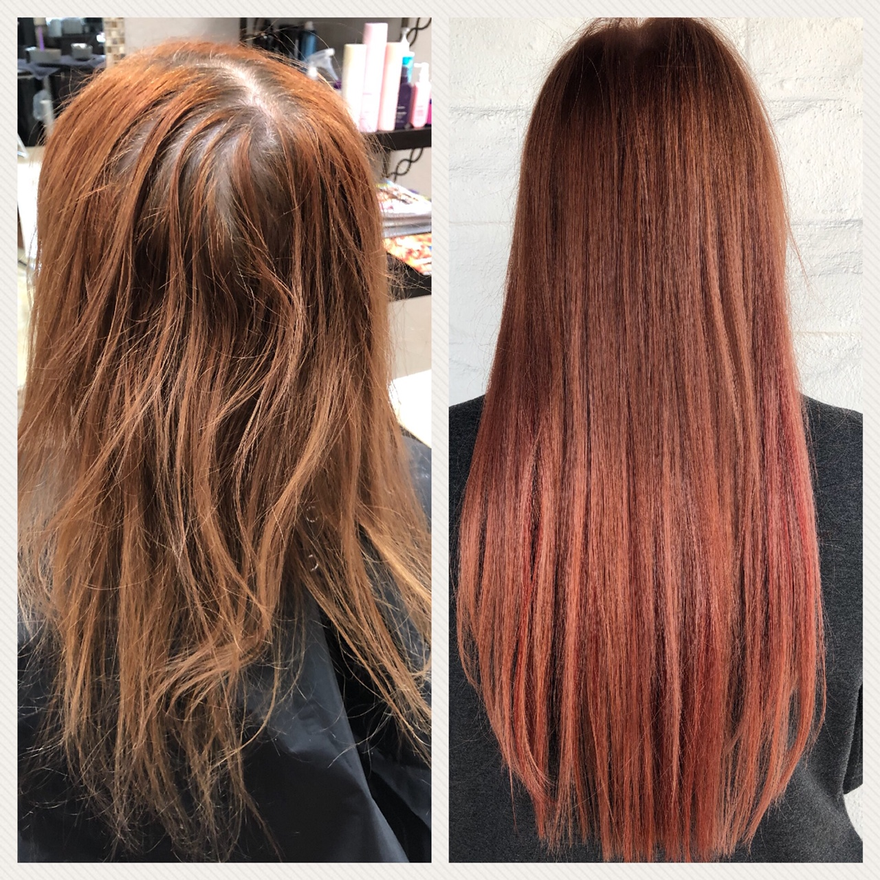 Before and After image of long auburn straight hair extensions-hair salon solana beach -Salon LG-+1 858 344 7865.