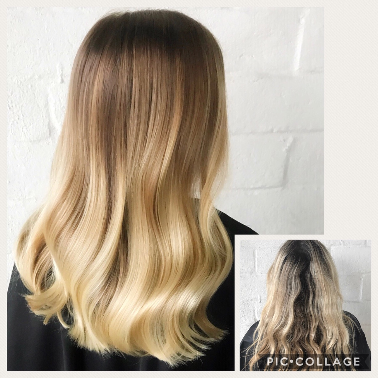 Before and After image of long blonde hair extensions fading from top to bottom-hair salon solana beach -Salon LG-+1 858 344 7865.