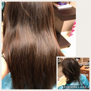 Before and After image of long brown hair extensions to replace short tired hair-hair salon solana beach -Salon LG-+1 858 344 7865.