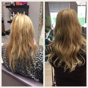Before and After image of long full light blonde straight hair extensions-hair salon solana beach -Salon LG-+1 858 344 7865.