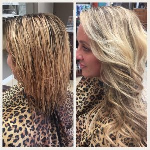 Before and After image of long full light blonde wavy hair extensions-hair salon solana beach -Salon LG-+1 858 344 7865.