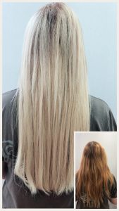 Before and After image of long full thick blonde hair extensions from auburn length hair -hair salon solana beach -Salon LG-+1 858 344 7865.