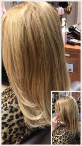Before and After image of long full thick blonde hair extensions from straight shoulder length hair -hair salon solana beach -Salon LG-+1 858 344 7865.