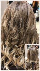 Before and After image of long full thick blonde wavey hair extensions from straight shoulder length hair -hair salon solana beach -Salon LG-+1 858 344 7865.