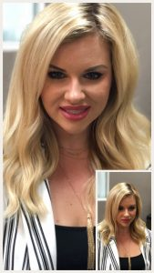 Before and After image of long full thick blonde wavy hair extensions -hair salon solana beach -Salon LG-+1 858 344 7865.