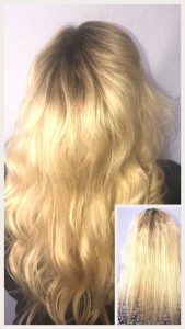Before and After image of long full thick blonde with wavey hair extensions from middle of the back length hair -hair salon solana beach -Salon LG-+1 858 344 7865.
