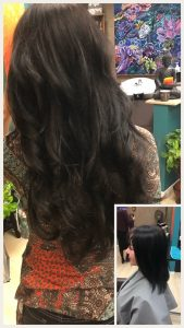 Before and After image of long full thick dark brown wavy hair extensions -hair salon solana beach -Salon LG-+1 858 344 7865.