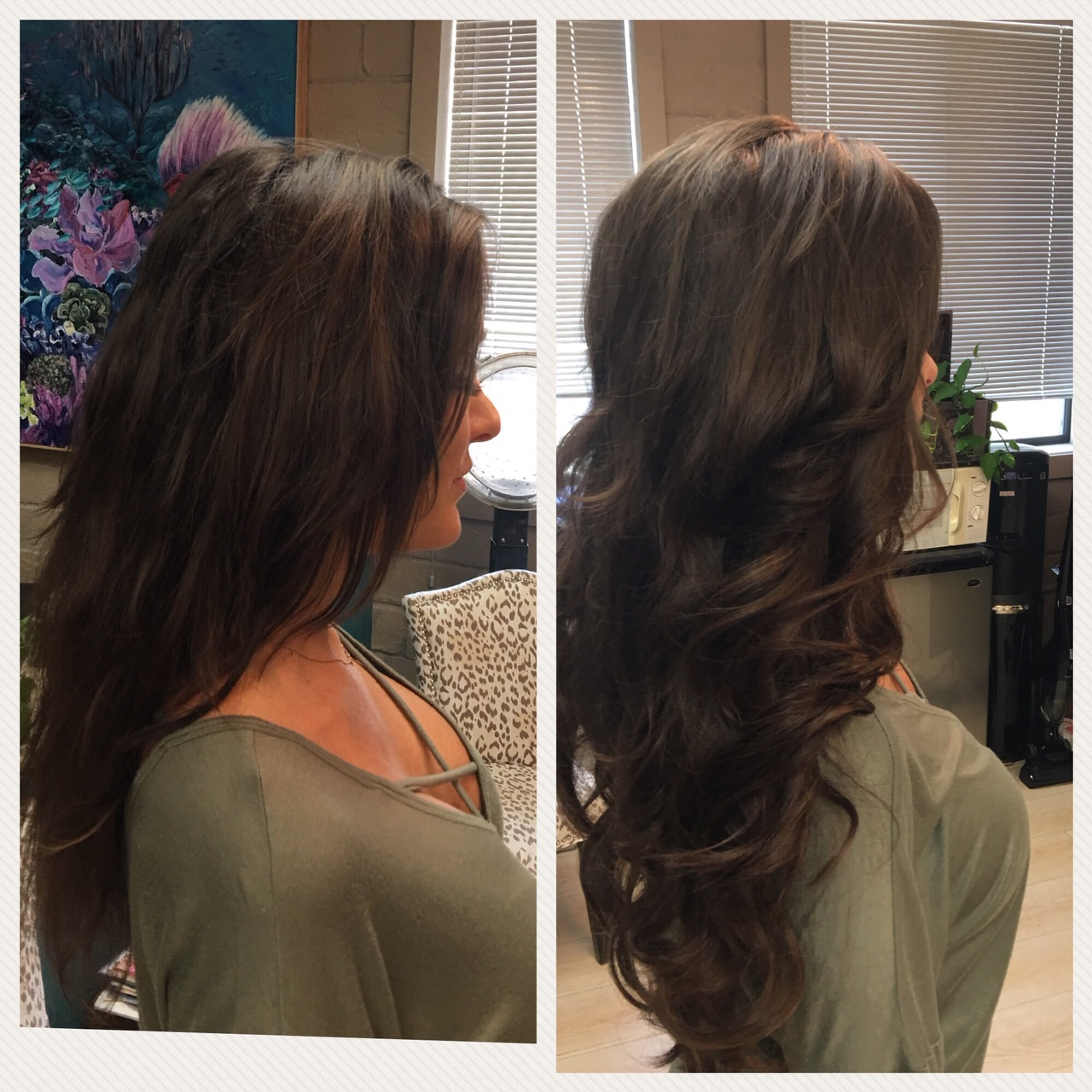 Before and After image of long full thick dark brown wavy hair extensions-hair salon solana beach -Salon LG-+1 858 344 7865.