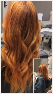 Before and After image of long full thick orange wavy hair extensions -hair salon solana beach -Salon LG-+1 858 344 7865.