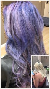 Before and After image of long full thick purple wavy hair extensions -hair salon solana beach -Salon LG-+1 858 344 7865.