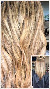 Before and After image of long full thick sandy blonde blended wavy hair extensions from straight hair -hair salon solana beach -Salon LG-+1 858 344 7865.