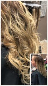 Before and After image of long full thick sandy blonde blended wavy hair extensions from straight shoulder length hair -hair salon solana beach -Salon LG-+1 858 344 7865.