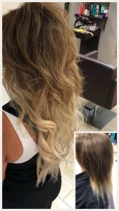 Before and After image of long full thick sandy blonde blended wavy hair extensions -hair salon solana beach -Salon LG-+1 858 344 7865.