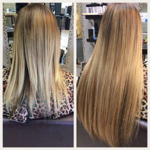 Before and After image of long full thick sandy blonde straight hair extensions-hair salon solana beach -Salon LG-+1 858 344 7865.