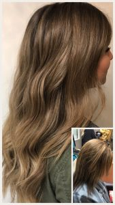 Before and After image of long full thick sandy blonde wavy hair extensions -hair salon solana beach -Salon LG-+1 858 344 7865.