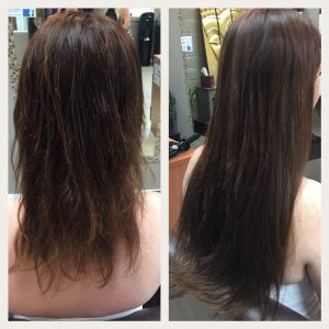 Before and After image of long full thin dark brown straight hair extensions-hair salon solana beach -Salon LG-+1 858 344 7865.