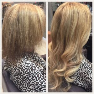 Before and After image of sandy blonde hair extensions to replace tired short blonde hair-hair salon solana beach -Salon LG-+1 858 344 7865.