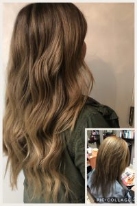 Before and After image of sandy brown hair extensions to replace short tired brown hair-hair salon solana beach -Salon LG-+1 858 344 7865.